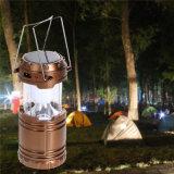 Lanterna ao ar livre portátil leve de acampamento recarregável brilhante super ao ar livre do diodo emissor de luz 6 da lâmpada solar da lanterna do diodo emissor de luz 60lm