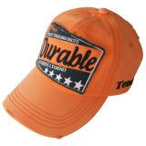 Oranged lavado gorra de béisbol con fieltro apliques Gjwd1729