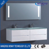 Новый шкаф ванной комнаты тазика PVC самомоднейший белый стеклянный
