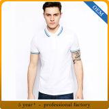 Chemise de polo blanche du coton des hommes en gros