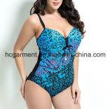 Grande costume da bagno per le donne, usura di un pezzo della stampa del leopardo di nuoto di Più-Formato