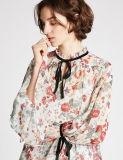 高品質型の花柄の長い袖のブラウス