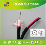 Câble siamois de pouvoir de Rg59/U+2*7*0.38mm (câble coaxial de liaison)