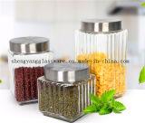 Recipiente de armazenamento do alimento da amostra livre/frasco de vidro com jogos do metal Lid/3 dos tanques de armazenamento