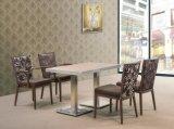Vector y sillas bajos de madera de imitación modernos de lujo de cena del acero inoxidable