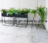 Soporte negro de acero del crisol de flor del color de la decoración del jardín