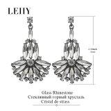 Boucles d'oreille de baisse en verre transparentes exquises de fleur de Rhinestone pour des femmes