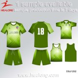 O futebol o mais atrasado Jersey do logotipo do Sublimation da cor verde cobre e Shorts o terno