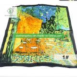châle estampé de femmes d'écharpe de peinture à l'huile de mode de soie de 90*90cm 100%
