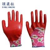 Перчатки нитрила цветка женщин покрашенные нейлоном для сада