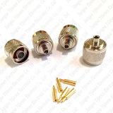 Prensado recto del conector del enchufe masculino de N para el conector semirrígido de la soldadura del RF del cable Rg402 0.141