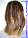 Perucas judaicas superiores do cabelo humano da forma com canela Highlight-16 ""