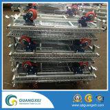 Recipiente dobrável do engranzamento de fio do armazenamento Demountable Stackable do recipiente do engranzamento de fio do armazenamento com a cesta de fio barata do rodízio