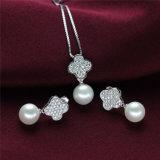 Insieme d'argento della perla bei 925 d'acqua dolce naturali di figura del trifoglio
