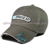Heavy Washed Embroidery Algodão Canvas Golf Cap Hat (TMB0338)