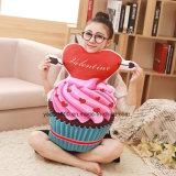 Almohadilla suave Shaped del juguete del helado con el corazón