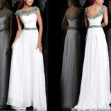 2014 robes formelles Chiffon ouvertes de bal d'étudiants de robe de soirée d'usager de nouvelle de mode de capuchon robe sexy perlée blanche de douille en arrière longues