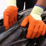 La palma nera del lattice ha ricoperto i guanti sulle coperture rosse del cotone dei 10 calibri, rivestimento della piega