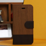 iPhone 5sのためのブラウンまたはBlack Wood Grain PU Leather Wallet言い分Pouch