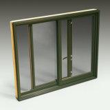 Ventana de desplazamiento vertical de aluminio de madera de la calidad barata y buena del surtidor de China, ventana de desplazamiento de madera de aluminio