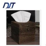 Couverture beige décorative de tissu facial/cadre en bois réutilisable de support de serviette de cuisine