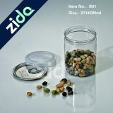 280ml 350ml 400ml secan el tarro plástico del animal doméstico transparente del alimento con las tapas de aluminio