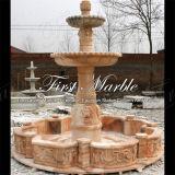 Fontaine rouge Mf-1038 de Ny de jardin en pierre de marbre de granit