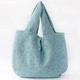 Bolso de compras no tejido de papel de la maneta de la lona del algodón del cuero del bolso de compras del regalo (X026)