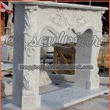 Cornija de lareira francesa de mármore branca da chaminé/bordadura Mf1709