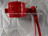 Válvula de borboleta vermelha da extremidade do sulco com a engrenagem da alavanca/sem-fim