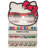 Interessante Rote, Blau-und Grün-Bögen u. hallo Miezekatze-tragender Glas-Stift-Ohrring für Kind-Zubehör