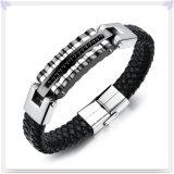 De Armband van het Leer van de Juwelen van het Roestvrij staal van de Juwelen van het leer (LB105)