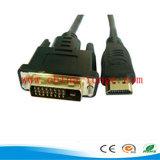 24k Od 6.0mm를 가진 남성에게 금에 의하여 도금되는 HDMI/DVI 케이블 남성 3개의 D 고속 HDTV 모니터