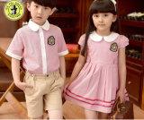 Vestito su ordinazione dall'uniforme scolastico di asilo di estate del vestito degli uniformi scolastichi delle ragazze e dei ragazzi
