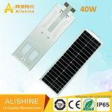 40watts 5 년 보장을%s 가진 한세트 통합 태양 LED 가로등