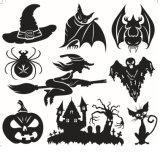 Etiquetas felizes da arte da parede de Halloween dos desenhos animados por atacado para miúdos