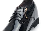 Schwarze Patent-Farben-Mann-lederne Schuhe mit schnüren sich oben (NX 444)