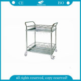 AG-Ss021A High Strength Hospital Metal 2-Tier Stainless Steel Trolley