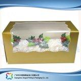Rectángulo de torta de empaquetado de papel de la cartulina de la Navidad con la ventana (xc-fbk-035)