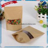 Lj1-214 Papier Kraft Papier en aluminium Ziplock pour sac cadeau / thé / bonbon / bijoux / pain
