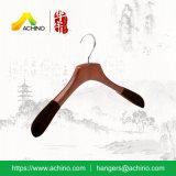 Деревянная вешалка одежды с плечами бархата экстренными толщиными (ACH303)
