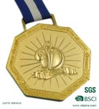 Hot Selling Casting Custom Gold Gold Sports Medalhas com fita