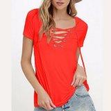 Form-Frauen kleidet reizvolles V-Stutzen Verband-T-Shirt Bluse