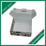 손잡이를 가진 다채로운 인쇄된 물결 모양 상자