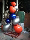 Sculpture combinée en ballon en acier inoxydable, sculpture en métal extérieur en métal