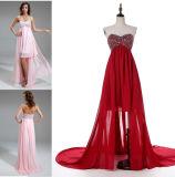 A - linha/vestido baile de finalistas da princesa Querido Garganta Assimétrico Chiffon com perolização