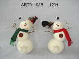 "12 "" H Snowman with Twig of lever, 2 Asst Christmas Decoration"