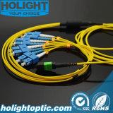8 сердечник MPO к кабелю заплаты оптического волокна Sc Sm