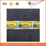 Contrassegno di stampa dell'autoadesivo tessuto indumento all'ingrosso su ordinazione del panno del collo di formato