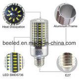 A luz E27 20W do milho do diodo emissor de luz refrigera a lâmpada de prata branca do bulbo do diodo emissor de luz do corpo da cor